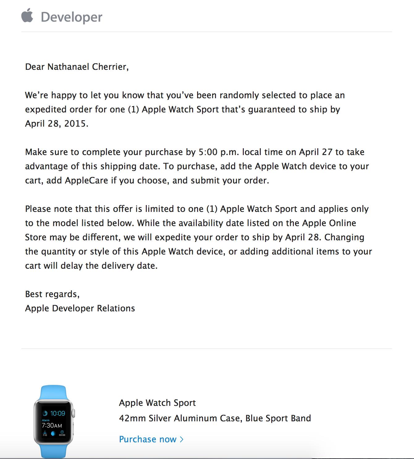 Mail : Apple Watch en vu