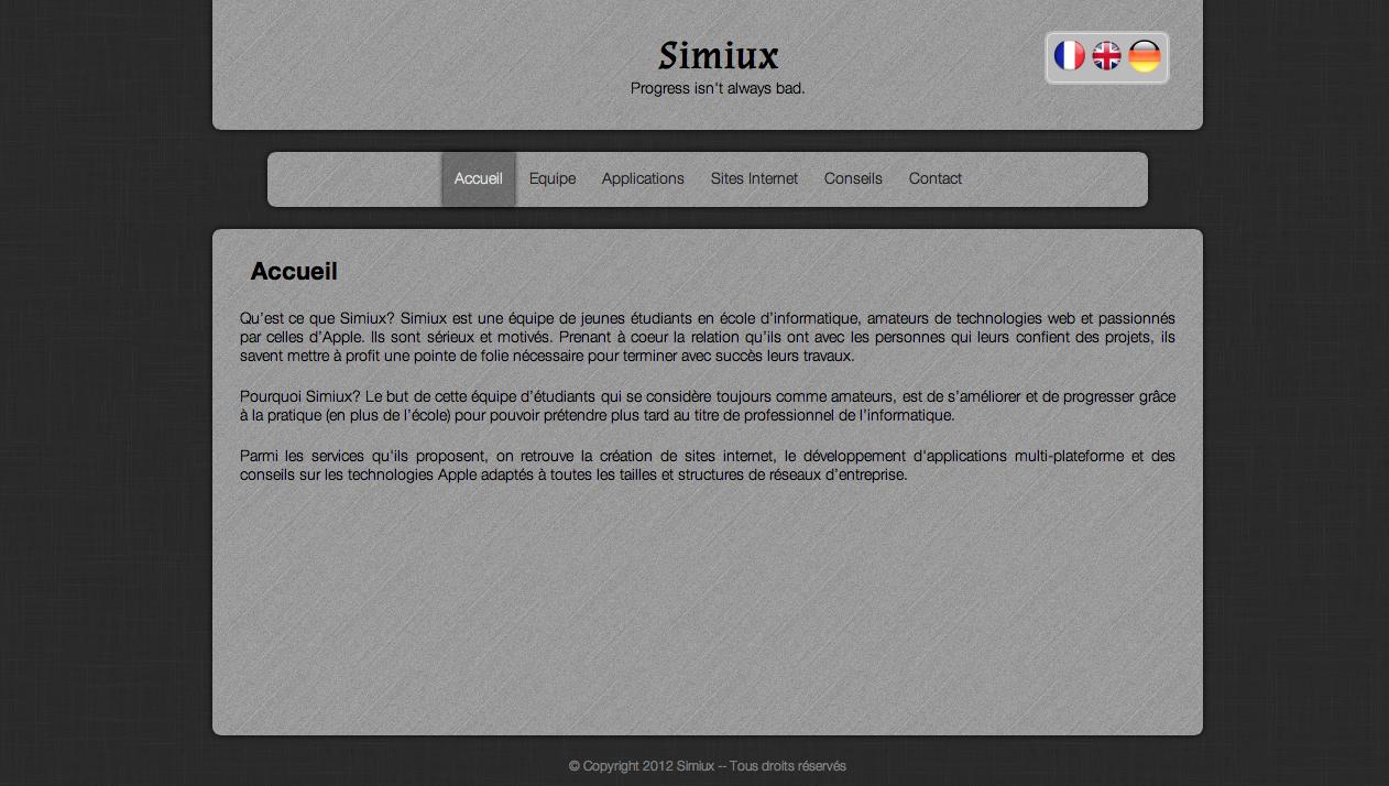 page accueil du site