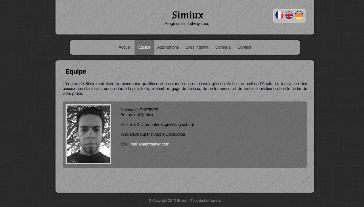 page équipe du site