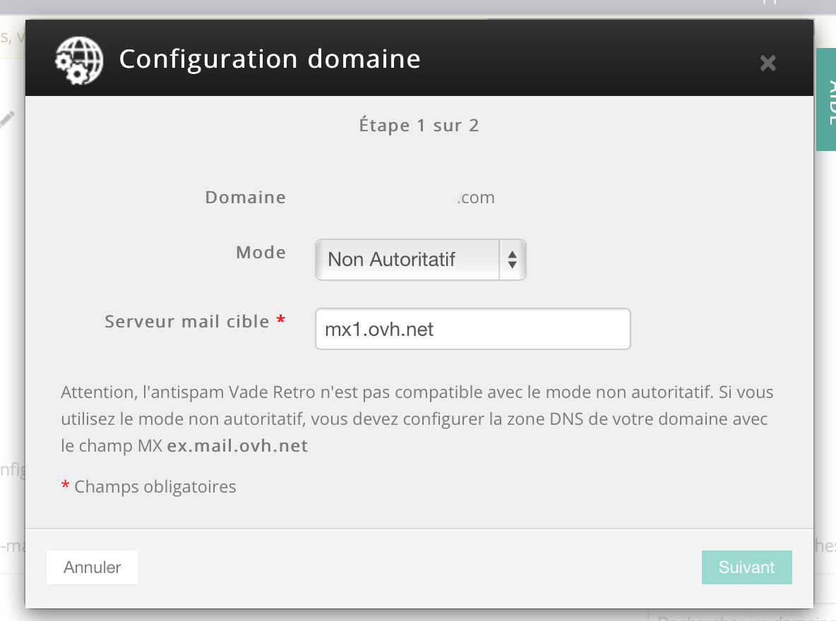 Exchange 2014 chez OVH: mode autoritatif