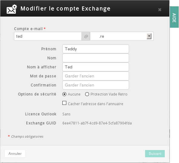 Exchange 2014 chez OVH : option de l'adresse mail