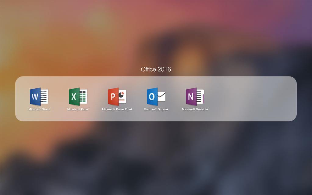 Icônes d'Office 2016