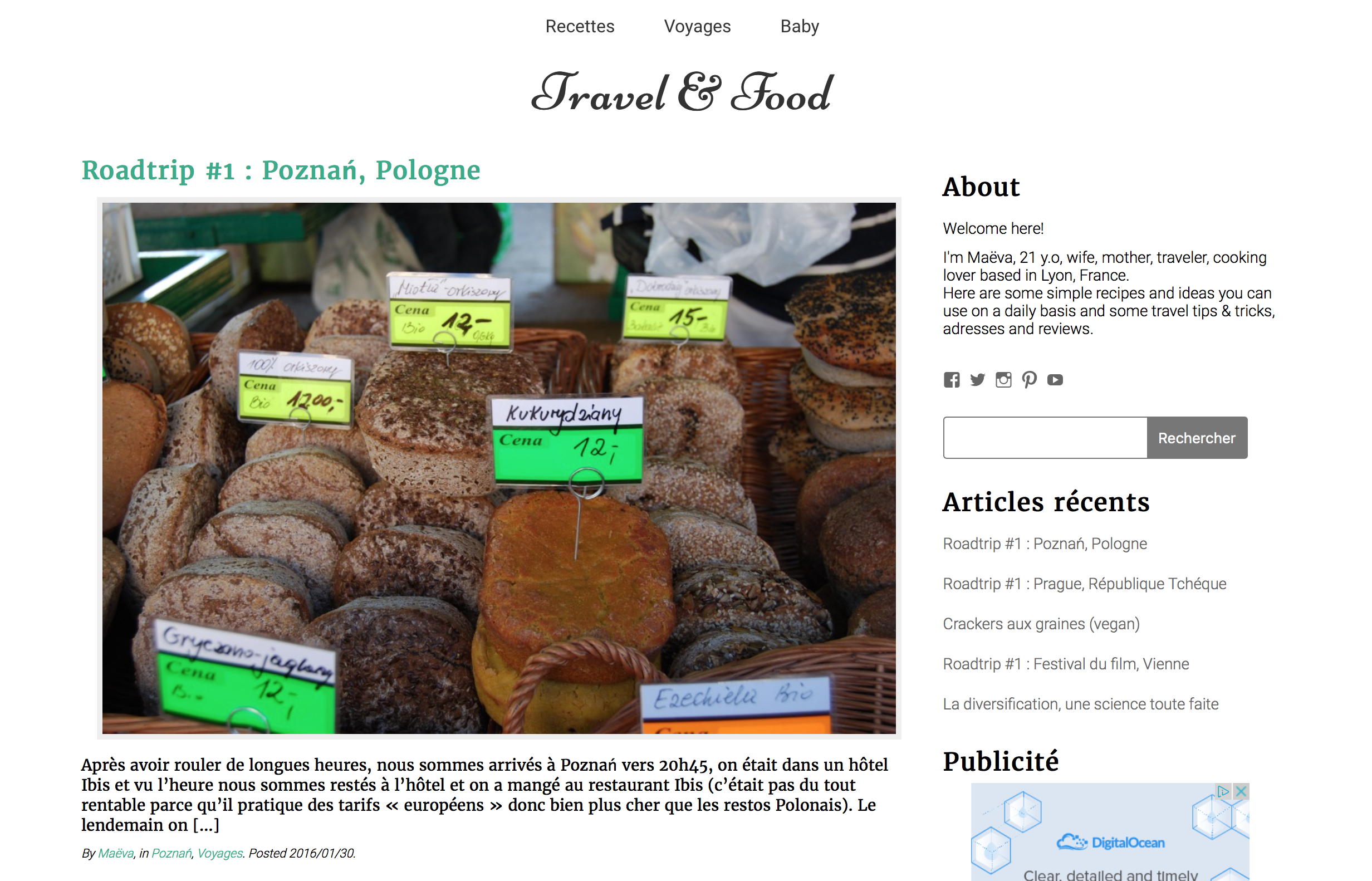 page d'accueil Travel & Food