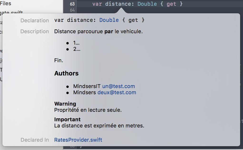 Documentation attribut distance